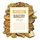 Bakery shop vector hand drawn concept with different types of fresh bread and bakig goods. Isolated on white poster royalty free illustration
