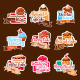 Bakery shop vector stickers for dessert cakes Royalty Free Stock Image