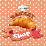 Bakery sign with croissant and text Royalty Free Stock Images