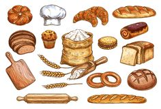 Bakery bread and pastry cakes vector sketch. Bakery sketch bread or pastry and baker chef items. Vector icons of flour sack bag and dough or cutting board and vector illustration