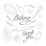 Bakery sketched illustrations in vector. Hand Royalty Free Stock Photo