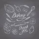 Bakery sketched objects. Hand drawn groceries Stock Photos