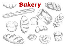 Bakery sketches with bread and pastry Royalty Free Stock Photo