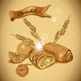 Bakery sketches in vintage style Royalty Free Stock Photos