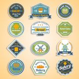 Bakery Stickers Set. Bakery premium quality food fresh bread paper stickers set isolated vector illustration stock illustration