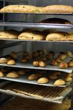 Bakery storage. Bakery pastray storega in the kitchen. Collection of cakes and breads stock image