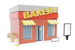 Bakery Store with copy space board isolated on white background. Modern shop buildings, store facades. Exterior market. Exterior facade store building. 3D Royalty Free Stock Image