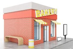 Bakery Store with copy space board isolated on white background. Modern shop buildings, store facades. Exterior market. Exterior facade store building. 3D Stock Image