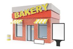 Bakery Store with copy space board isolated on white background. Modern shop buildings, store facades. Exterior market. Exterior facade store building. 3D Stock Photography