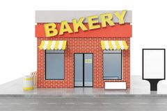 Bakery Store with copy space board isolated on white background. Modern shop buildings, store facades. Exterior market. Exterior facade store building. 3D Stock Images