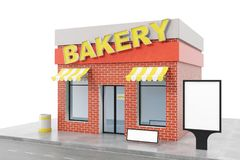 Bakery Store with copy space board isolated on white background. Modern shop buildings, store facades. Exterior market. Exterior facade store building. 3D Stock Photos