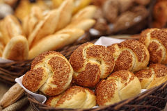 Into a bakery store. Fresh bread just prepared from a master bakery Royalty Free Stock Images