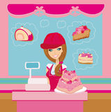 Bakery store - saleswoman serving large pink cake Stock Photography
