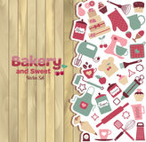 Bakery and sweet abstract illustration on wood. stock illustration