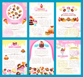 Bakery sweet desserts vector brochure or posters. Desserts and bakery shop brochure or poster of vector sweet cakes, biscuits or gingerbread cookies and Stock Images