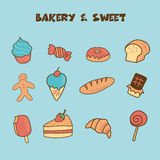Bakery and sweet icon. Doodle hand drawing style royalty free illustration