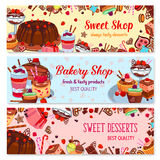 Bakery and sweet shop, ice cream cafe banner set. Cake, cupcake, chocolate, fruit cream dessert, ice cream sundae, muffin, cookie, berry pie, candy, pudding Royalty Free Stock Images