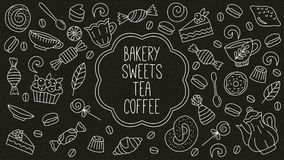 Bakery sweets desserts tea coffee doodle icons set. On black background Royalty Free Stock Photo
