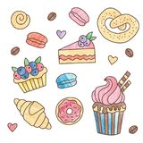 Bakery sweets doodle icons set. Bakery sweets desserts colorful cute doodle icons vector set with texture colors Stock Image