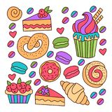Bakery sweets colorful doodle icons vector set. Bakery sweets food colorful doodle cute isolated icons vector set Royalty Free Stock Images