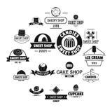 Bakery sweets logo icons set, simple style. Bakery sweets logo icons set. Simple illustration of 16 bakery sweets logo vector icons for web royalty free illustration