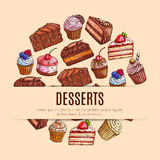 Bakery sweets and pastry, dessert food banner. Pastry and dessert food, bakery and sweets banner. Chocolate cake and cupcake with cream and strawberry, waffle stock illustration