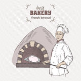 Bakery template with baker and stove color vector sketch. Stock Photo