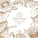 Bakery templates. Vector hand drawn bakery template, banner, flyer, leaflet, brochure stock illustration