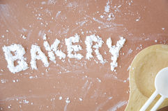 Bakery text. On pink pastel background Stock Photos