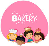 Bakery theme with children and cake Royalty Free Stock Photography