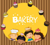 Bakery theme with children and cupcakes Stock Photography