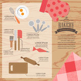 Bakery tools. Cookbook infographics background and elements. there are bakery tools, Can be used for cooking and food recipe background, layout, banner,logo, web Stock Photo