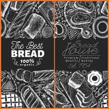 Bakery top view frame. Hand drawn vector illustration with bread and pastry on chalk board. Retro design template. Can. Bakery top view frame. Hand drawn vector royalty free illustration