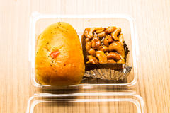 Bakery two pieces placed in a transparent box. Royalty Free Stock Photography
