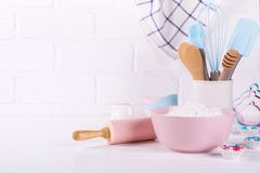 Bakery utensils. Kitchen tools for baking on a white background. Bakery utensils. Kitchen tools for baking on a white wooden background stock photo