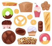 Bakery vector baking pastry bread or loaf and baked donut for breakfast illustration muffin and cupcakes set isolated on. White background Stock Images