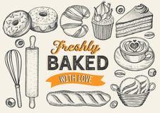 Bakery vector illustration - cake, donut, croissant, cupcake royalty free illustration