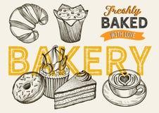 Bakery vector illustration - cake, donut, croissant, cupcake royalty free stock image