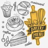 Bakery vector illustration - cake, donut, croissant, cupcake stock photo