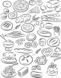 Bakery. Vector illustration of bakery collection in black and white royalty free illustration