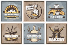 Bakery Vintage Posters Set Stock Image