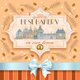 Bakery vintage style banner with image of town on grain and ears background. Stock Photo
