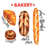 Bakery  in watercolor vector illustration  set Royalty Free Stock Image