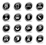 Bakery icon set. Bakery web icons - black round chrome buttons vector illustration