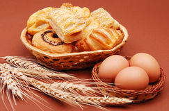 Bakery with wheat ear and eggs Royalty Free Stock Photos