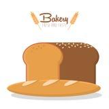 Bakery whole grain bread always fresh. Vector illustration eps 10 royalty free illustration