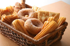 Bakery on window. Different Bakery elements on basket, window soft light Stock Photo