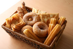 Bakery on window. Different Bakery elements on basket, window soft light Stock Photography