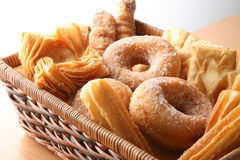 Bakery on window. Different Bakery elements on basket, window soft light Stock Images
