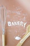 Bakery wording make with flour Stock Photo